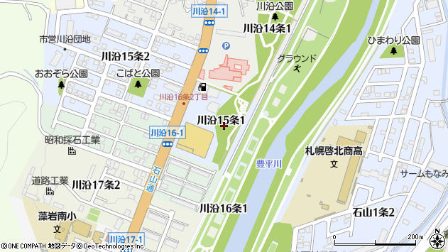 〒005-0815 北海道札幌市南区川沿十五条の地図