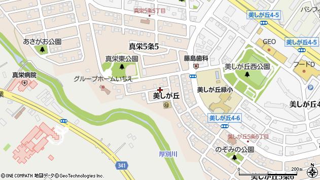 〒004-0815 北海道札幌市清田区美しが丘五条の地図
