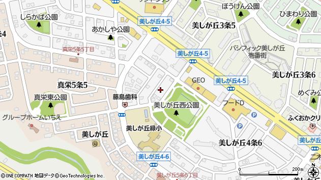 〒004-0814 北海道札幌市清田区美しが丘四条の地図