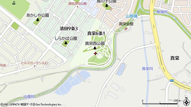 〒004-0836 北海道札幌市清田区真栄六条の地図