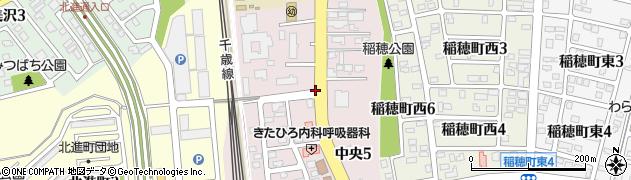 北海道北広島市中央周辺の地図