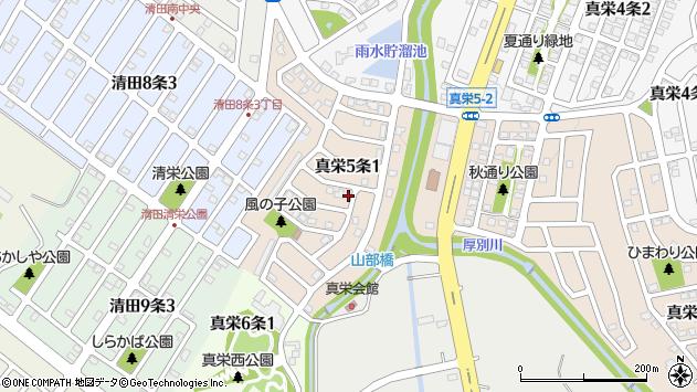 〒004-0835 北海道札幌市清田区真栄五条の地図