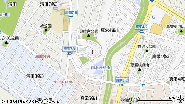 〒004-0834 北海道札幌市清田区真栄四条の地図