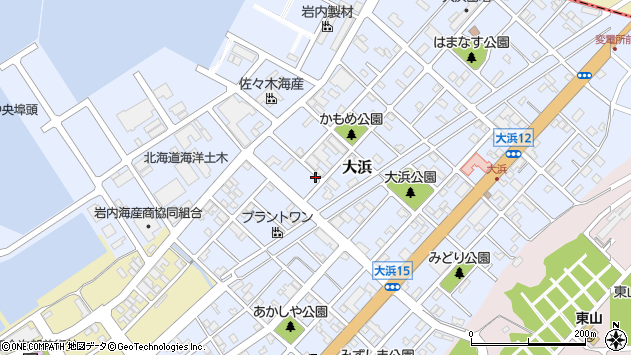 〒045-0001 北海道岩内郡岩内町大浜の地図