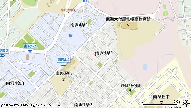 〒005-0823 北海道札幌市南区南沢三条の地図