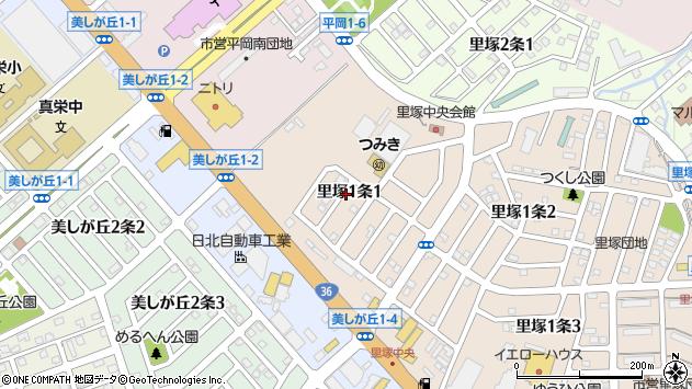 〒004-0801 北海道札幌市清田区里塚一条の地図