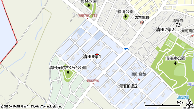 〒004-0848 北海道札幌市清田区清田八条の地図