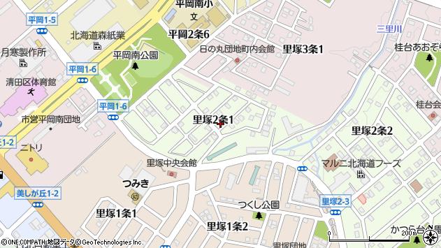 〒004-0802 北海道札幌市清田区里塚二条の地図