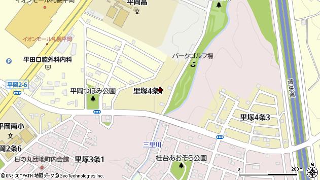 〒004-0804 北海道札幌市清田区里塚四条の地図