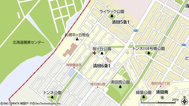 〒004-0846 北海道札幌市清田区清田六条の地図