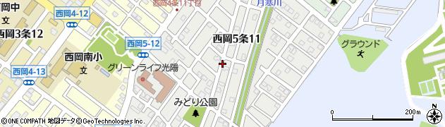 北海道札幌市豊平区西岡5条周辺の地図
