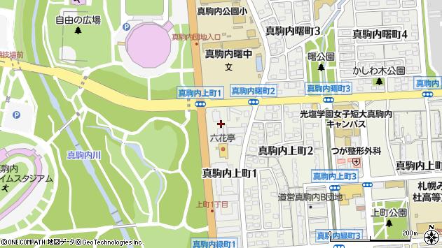 〒005-0012 北海道札幌市南区真駒内上町の地図