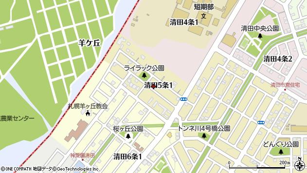 〒004-0845 北海道札幌市清田区清田五条の地図