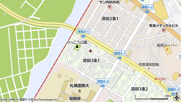 〒004-0843 北海道札幌市清田区清田三条の地図
