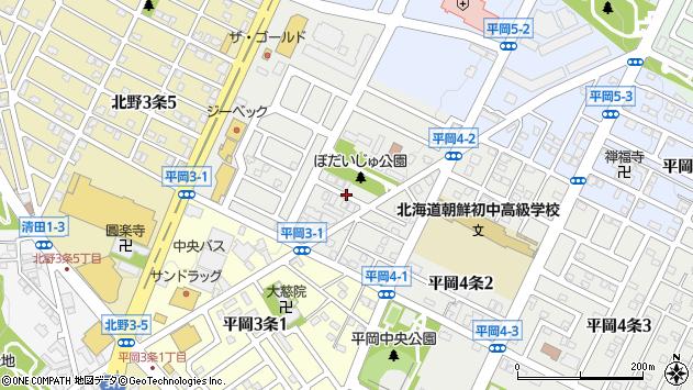 〒004-0874 北海道札幌市清田区平岡四条の地図