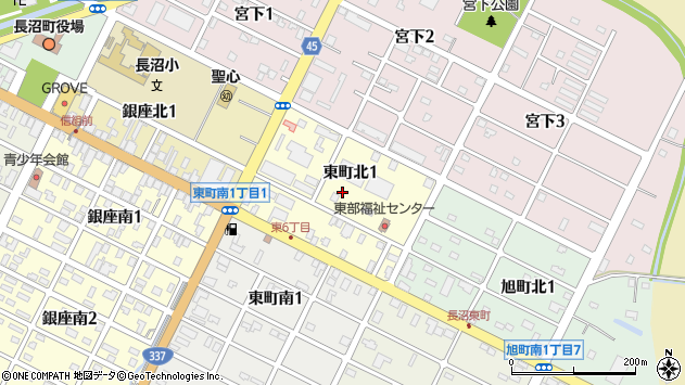 〒069-1342 北海道夕張郡長沼町東町の地図