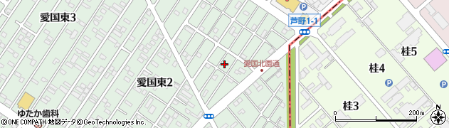 北海道釧路市愛国東2丁目34周辺の地図