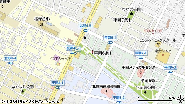 〒004-0876 北海道札幌市清田区平岡六条の地図