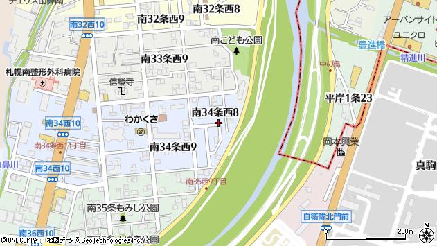 〒005-0034 北海道札幌市南区南三十四条西の地図