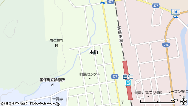 〒069-1206 北海道夕張郡由仁町本町の地図