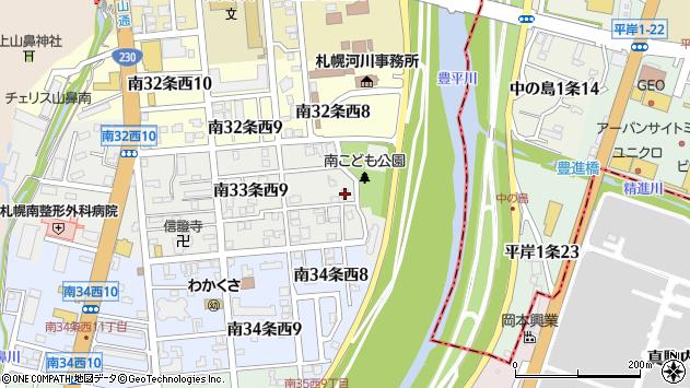 〒005-0033 北海道札幌市南区南三十三条西の地図