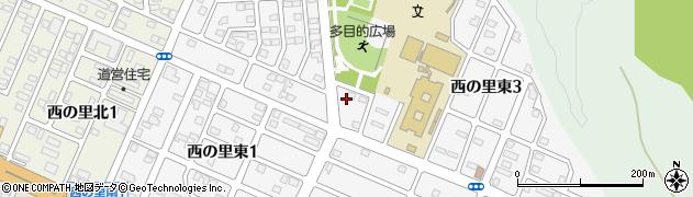 北海道北広島市西の里東周辺の地図
