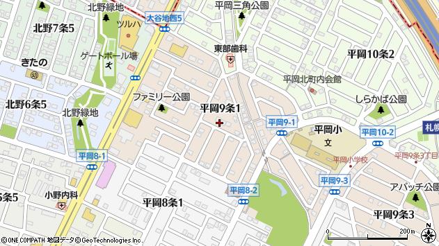 〒004-0879 北海道札幌市清田区平岡九条の地図