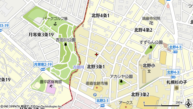 〒004-0863 北海道札幌市清田区北野三条の地図