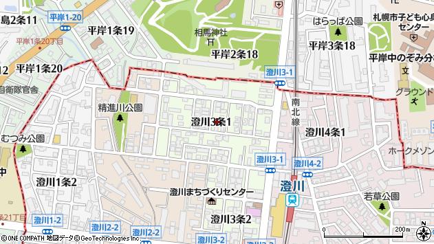 〒005-0003 北海道札幌市南区澄川三条の地図