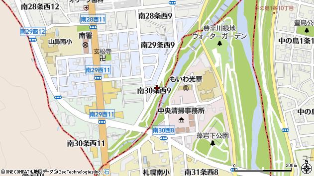 〒064-0930 北海道札幌市中央区南三十条西9丁目の地図