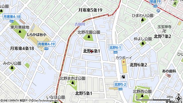 〒004-0866 北海道札幌市清田区北野六条の地図