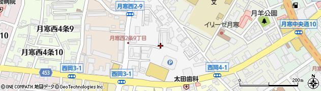 北海道札幌市豊平区月寒西2条周辺の地図