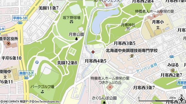 〒062-0024 北海道札幌市豊平区月寒西四条の地図