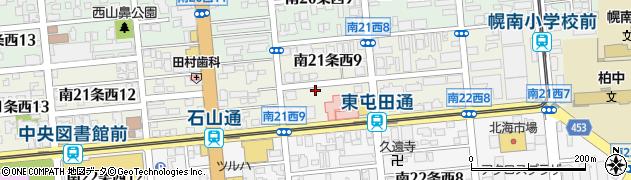 北海道札幌市中央区南21条西周辺の地図