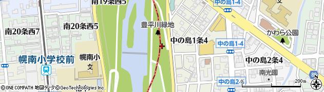北海道札幌市豊平区中の島周辺の地図