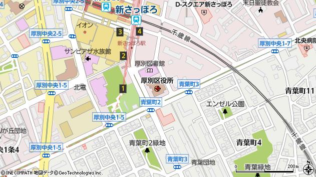 〒004-0000 北海道札幌市清田区(以下に掲載がない場合)の地図