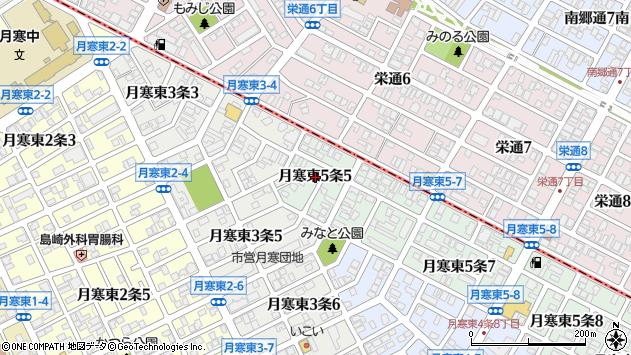 〒062-0055 北海道札幌市豊平区月寒東五条の地図
