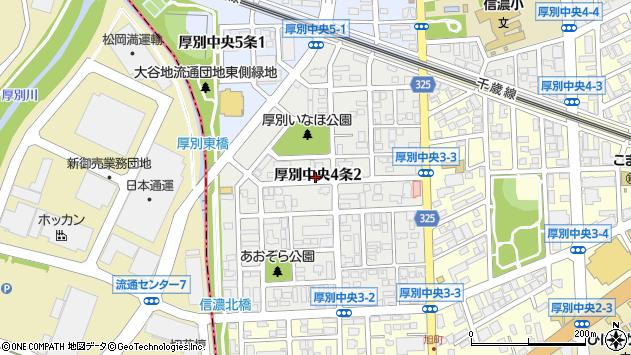〒004-0054 北海道札幌市厚別区厚別中央四条の地図
