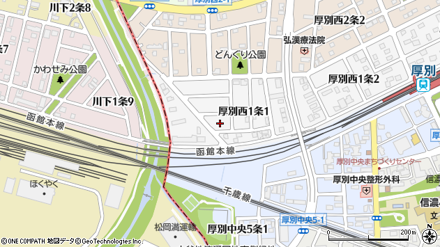 〒004-0061 北海道札幌市厚別区厚別西一条の地図