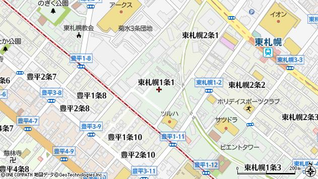 〒003-0001 北海道札幌市白石区東札幌一条の地図