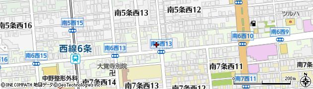 北海道札幌市中央区南6条西周辺の地図