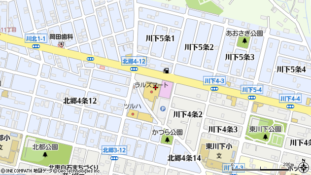 〒003-0864 北海道札幌市白石区川下四条の地図