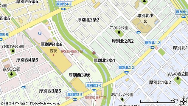 〒004-0072 北海道札幌市厚別区厚別北二条の地図