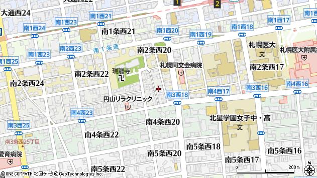 〒064-0803 北海道札幌市中央区南三条西21丁目の地図