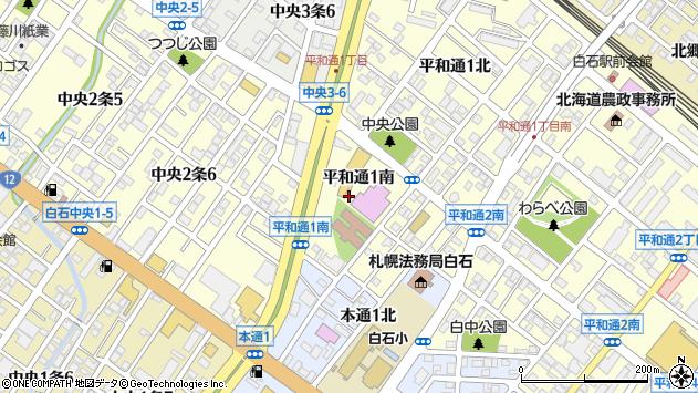 〒003-0028 北海道札幌市白石区平和通南の地図