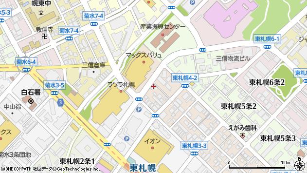〒003-0004 北海道札幌市白石区東札幌四条の地図