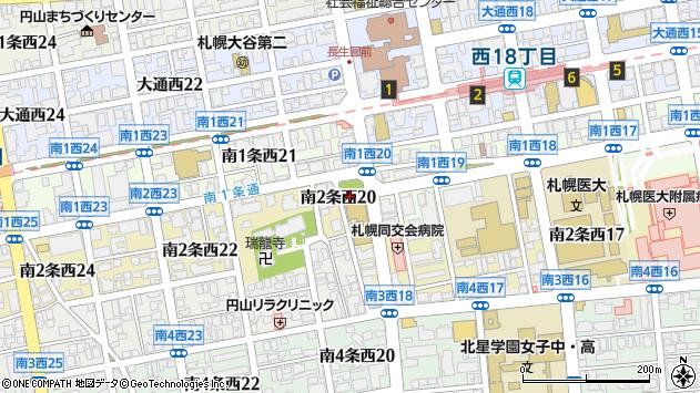 〒064-0802 北海道札幌市中央区南二条西26丁目の地図