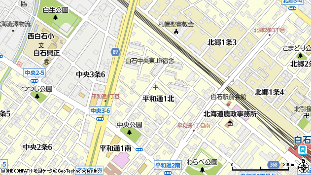 〒003-0029 北海道札幌市白石区平和通北の地図