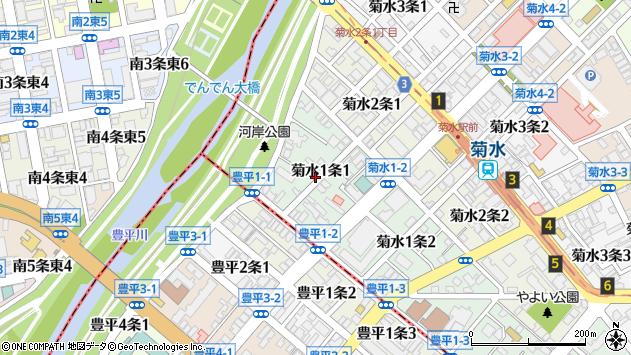 〒003-0801 北海道札幌市白石区菊水一条の地図