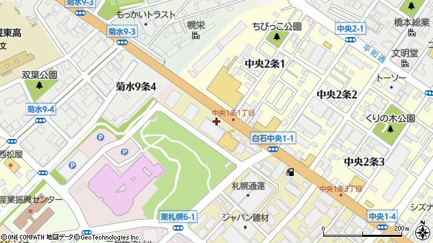 〒003-0011 北海道札幌市白石区中央一条の地図